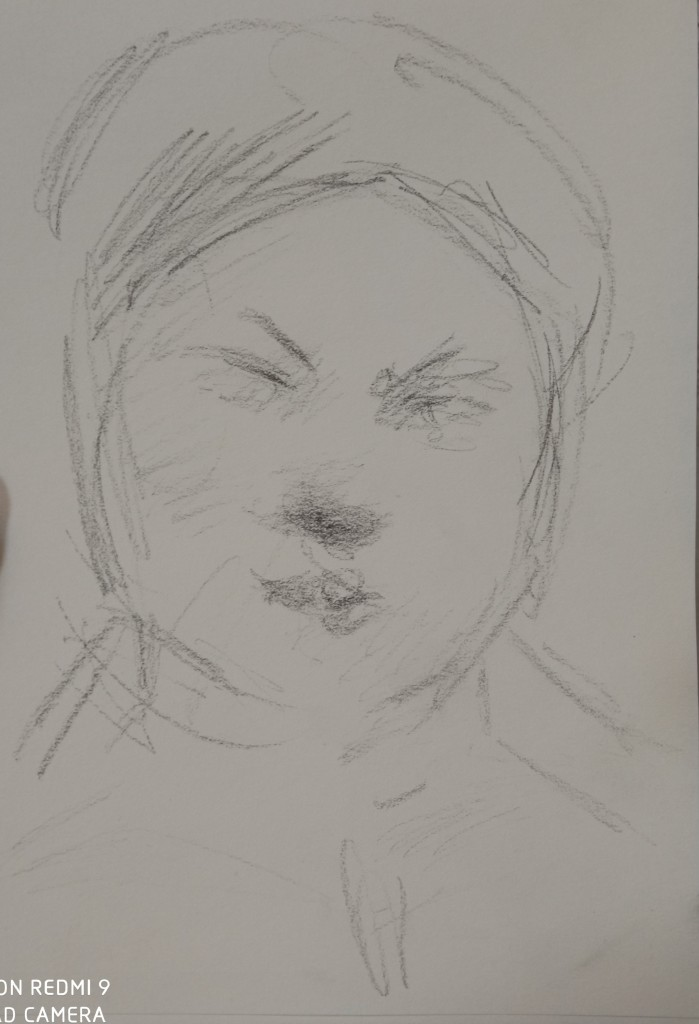 The portrait sketch of the day-the student from French city of Nice