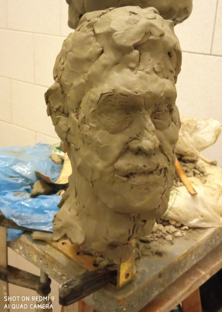 The portrait sketch of clay of my client of my works-composing from the memory of the impression