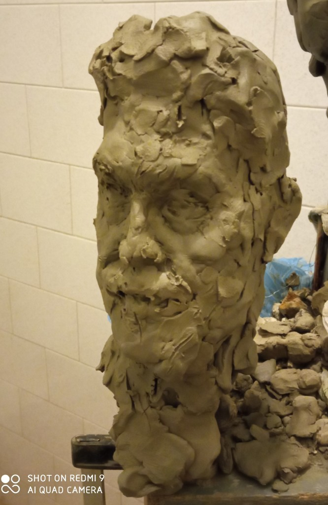 The portrait sketch of clay of my client of my works-composing the space and unity with running feeling-meeting the Italian humanity