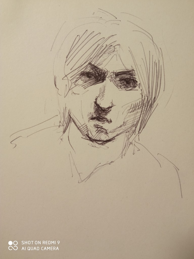 The portrait sketch of the day-The completed selfportrait with a pen