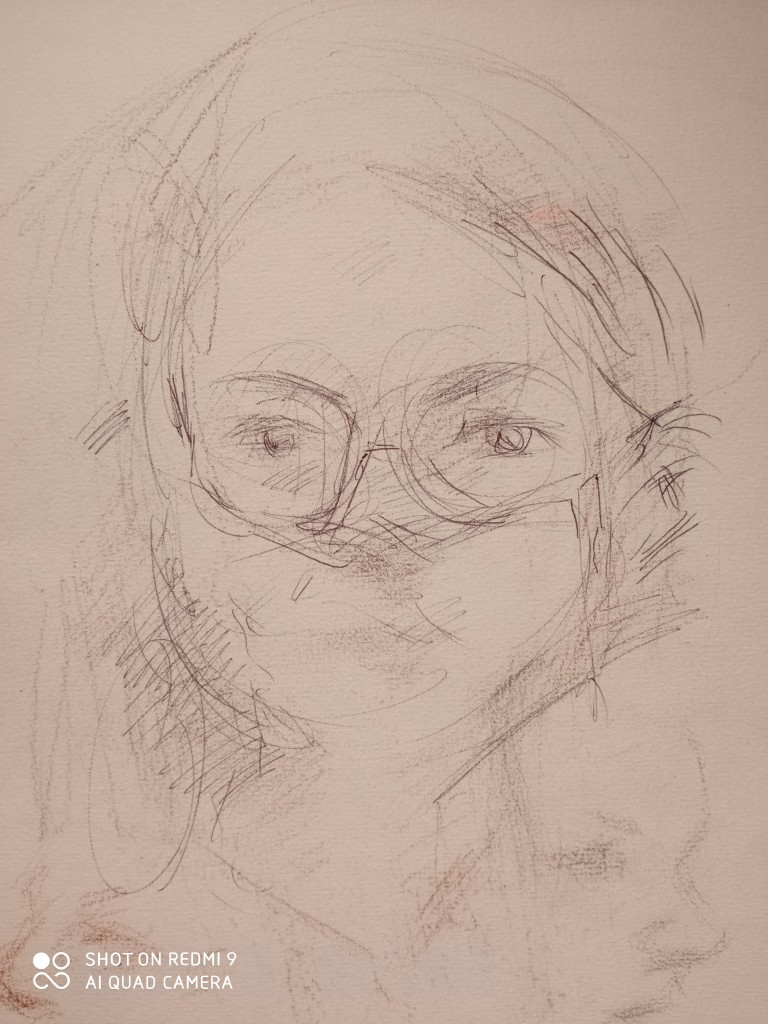 The portrait sketch of the day-the French woman at the bookshop