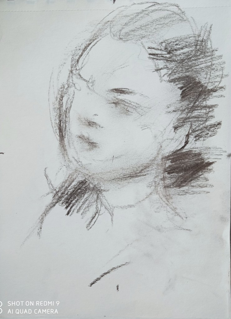 The new portrait sketch of my Italian friend-the 3rd study of the movement
