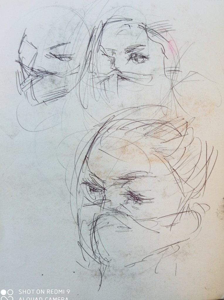 The portraits sketch of the Fiorentine students taking the bus