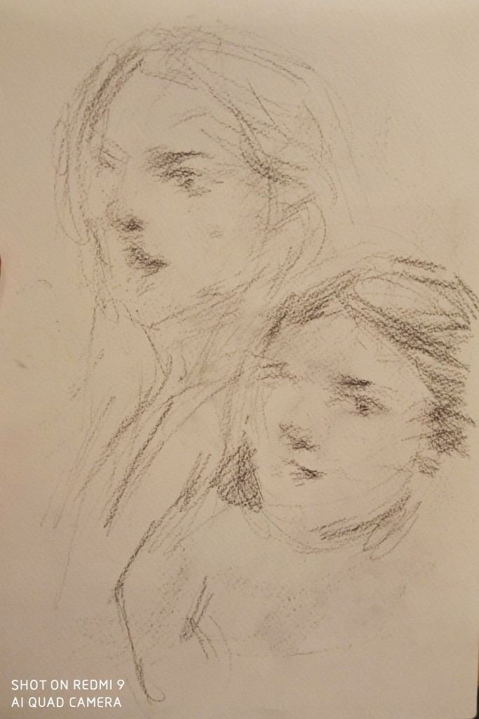 The portrait sketch of the French students from Lyon