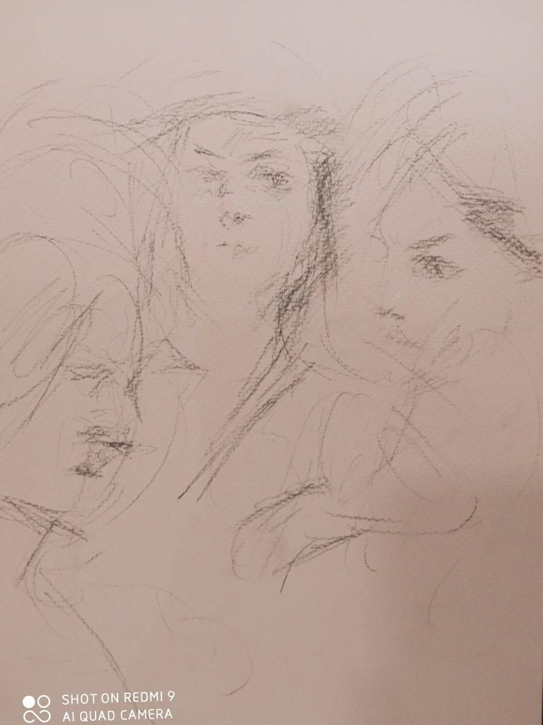 The sketch of the 3students from Ravenna