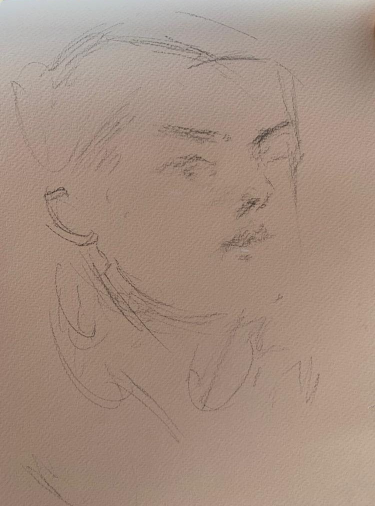 The portrait sketch of my Italian friend/model-from the other direction