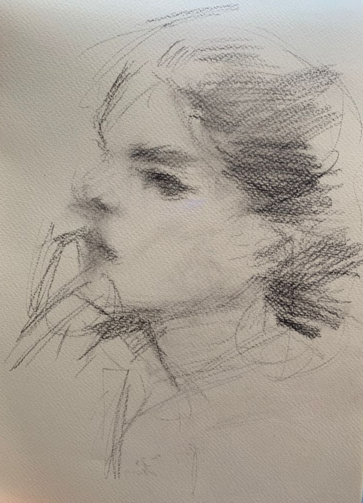 The portrait drawing of my Italian friend/model-the continuation of the last sketch