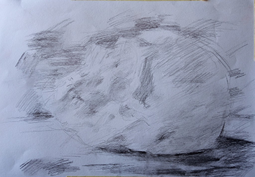 Starting the new cast drawing analysis today-starting sketch with the subjective feeling/tone