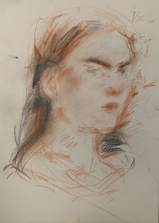 The portrait sketch of my Italian friend/model -added more red chalk for the tone with the senses