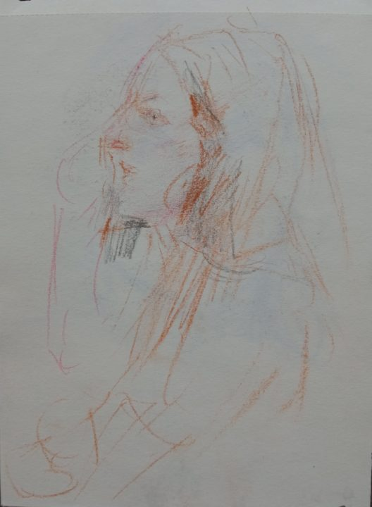 The portrait sketch of the Romanian student