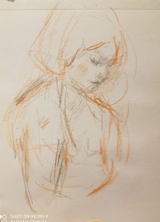The portrait sketch of the German student