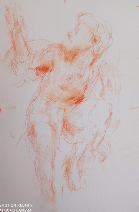 The new analyzing drawing started from this afternoon-the red chalk sketch of Laocoonte's son