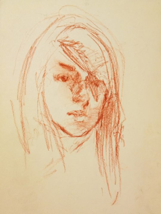 The portrait sketch of the Spanish student from Sevilla